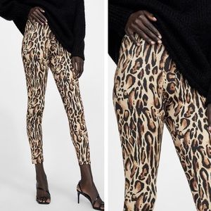 🆕 Zara Animal Print Leopard Print Leggings NEW M